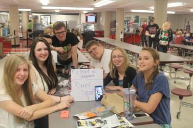 From Right to Left: Freshmen Lily Meister, Jessica VanAllen, Nathan Miles, Junior Austin Maggard, Senior Tyler Hornick, Freshmen Haley Martin and Christina Griffith